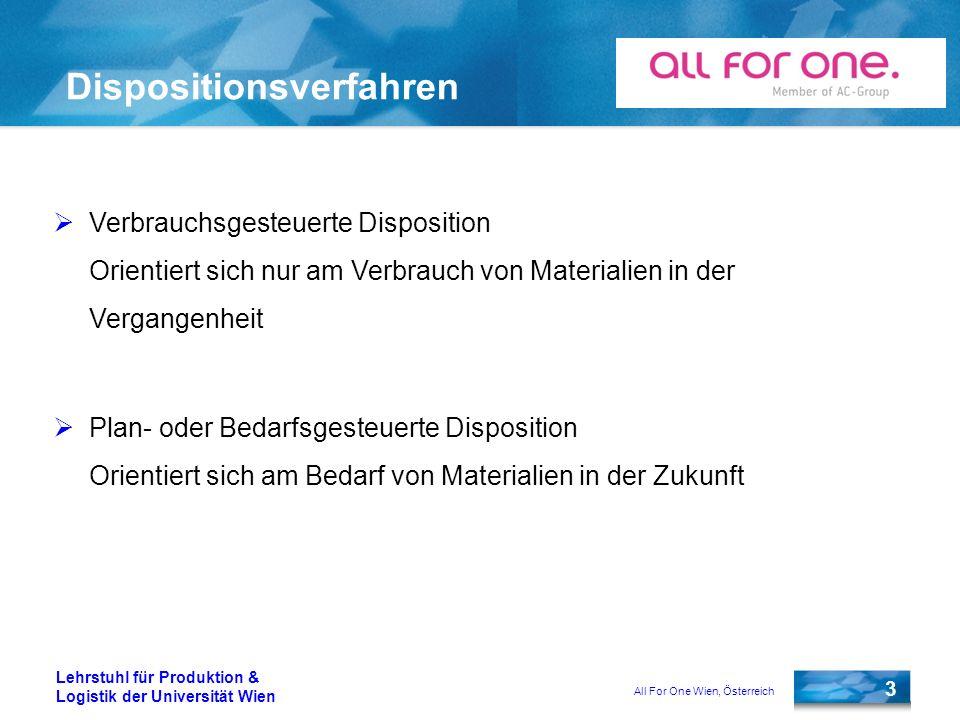 All For One Wien, Österreich 3 Lehrstuhl für Produktion & Logistik der Universität Wien Dispositionsverfahren Verbrauchsgesteuerte Disposition Orienti