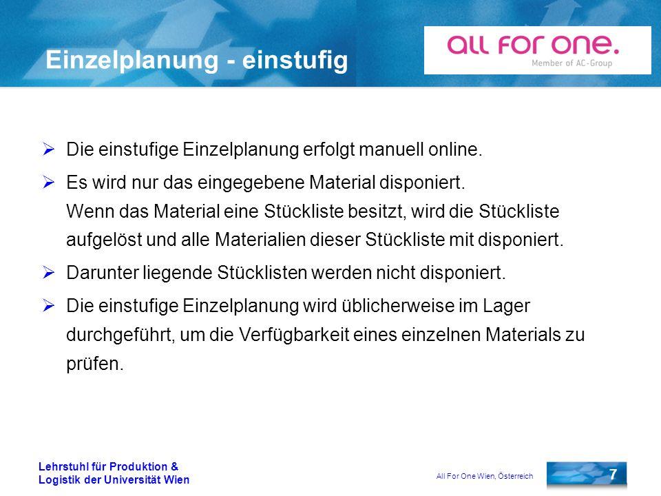 All For One Wien, Österreich 7 Lehrstuhl für Produktion & Logistik der Universität Wien Einzelplanung - einstufig Die einstufige Einzelplanung erfolgt