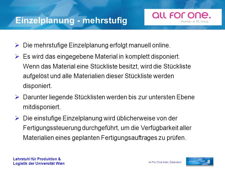 All For One Wien, Österreich 8 Lehrstuhl für Produktion & Logistik der Universität Wien Einzelplanung - mehrstufig Die mehrstufige Einzelplanung erfol