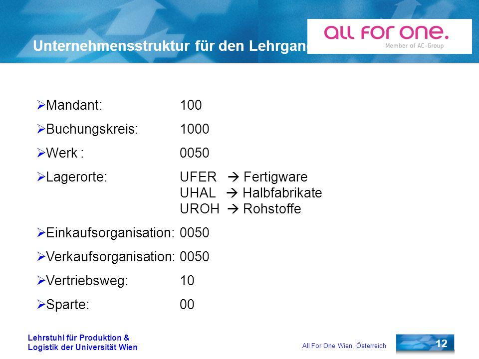12 Lehrstuhl für Produktion & Logistik der Universität Wien All For One Wien, Österreich Unternehmensstruktur für den Lehrgang Mandant: 100 Buchungskr