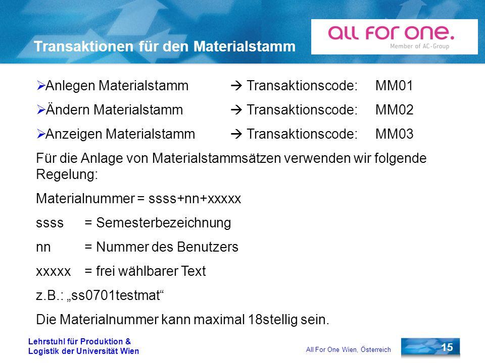 15 Lehrstuhl für Produktion & Logistik der Universität Wien All For One Wien, Österreich Transaktionen für den Materialstamm Anlegen Materialstamm Tra