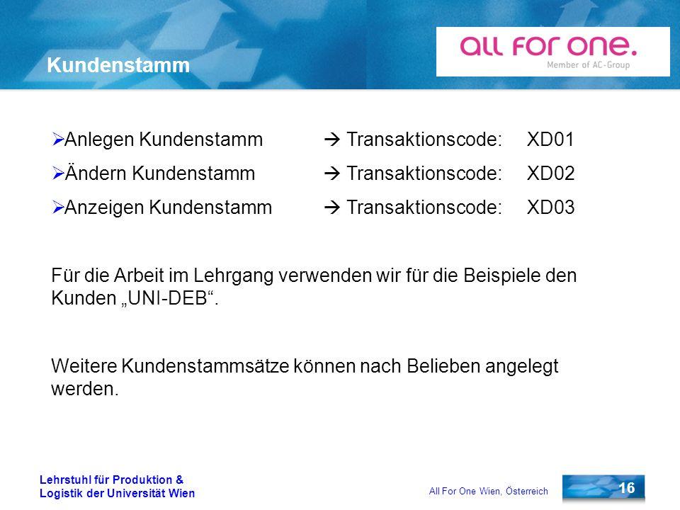 16 Lehrstuhl für Produktion & Logistik der Universität Wien All For One Wien, Österreich Kundenstamm Anlegen Kundenstamm Transaktionscode:XD01 Ändern