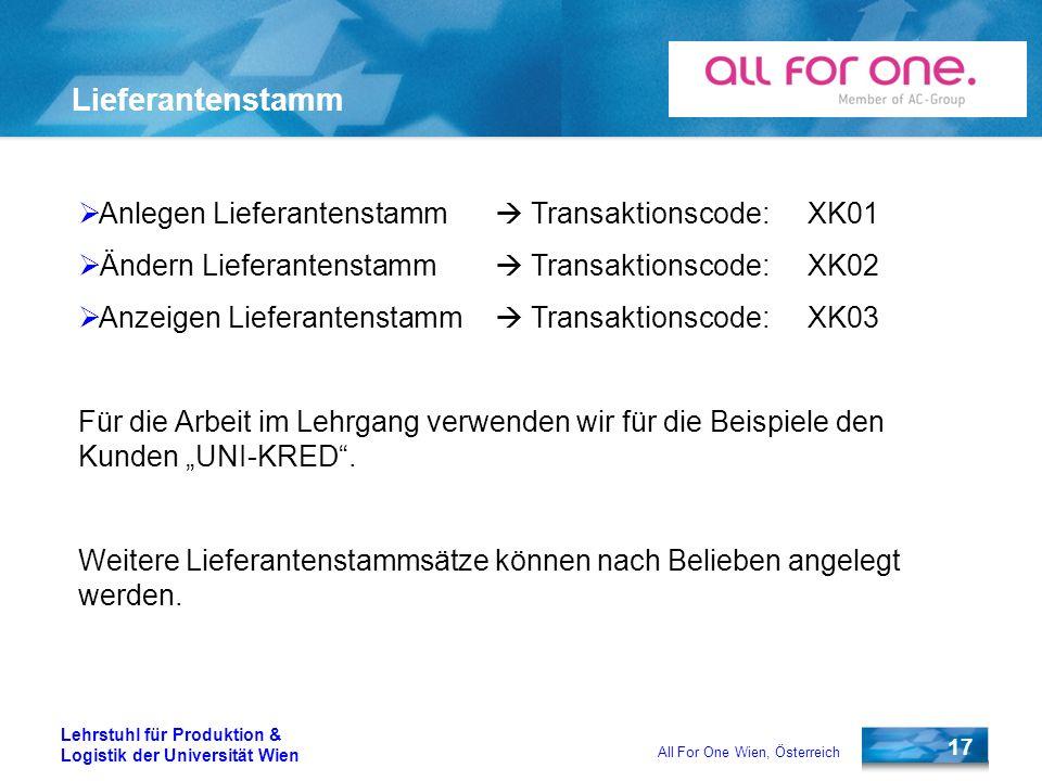 17 Lehrstuhl für Produktion & Logistik der Universität Wien All For One Wien, Österreich Lieferantenstamm Anlegen Lieferantenstamm Transaktionscode:XK