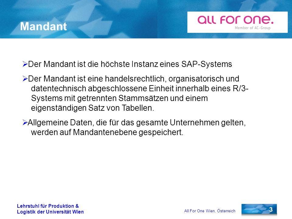 3 Lehrstuhl für Produktion & Logistik der Universität Wien All For One Wien, Österreich Mandant Der Mandant ist die höchste Instanz eines SAP-Systems