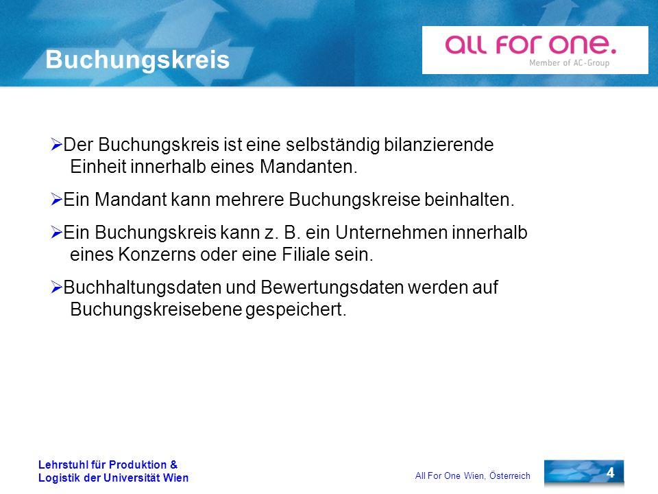 4 Lehrstuhl für Produktion & Logistik der Universität Wien All For One Wien, Österreich Buchungskreis Der Buchungskreis ist eine selbständig bilanzier