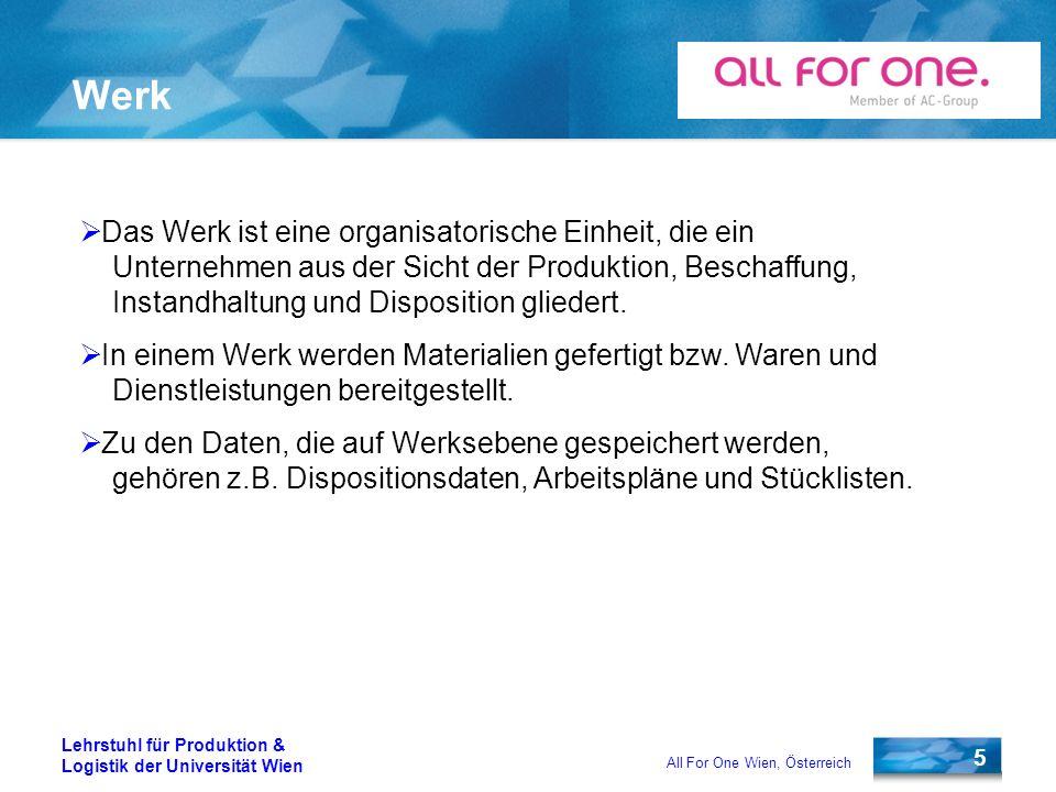 5 Lehrstuhl für Produktion & Logistik der Universität Wien All For One Wien, Österreich Werk Das Werk ist eine organisatorische Einheit, die ein Unter