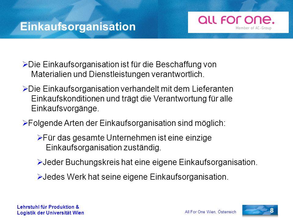 8 Lehrstuhl für Produktion & Logistik der Universität Wien All For One Wien, Österreich Einkaufsorganisation Die Einkaufsorganisation ist für die Besc