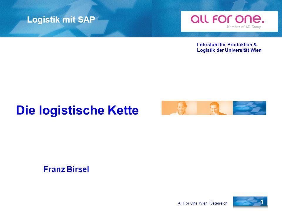 All For One Wien, Österreich 22 Lehrstuhl für Produktion & Logistik der Universität Wien Wareneingang Bei Wareneingang von bestelltem Material wird unter Bezug zur Bestellung durchgeführt.