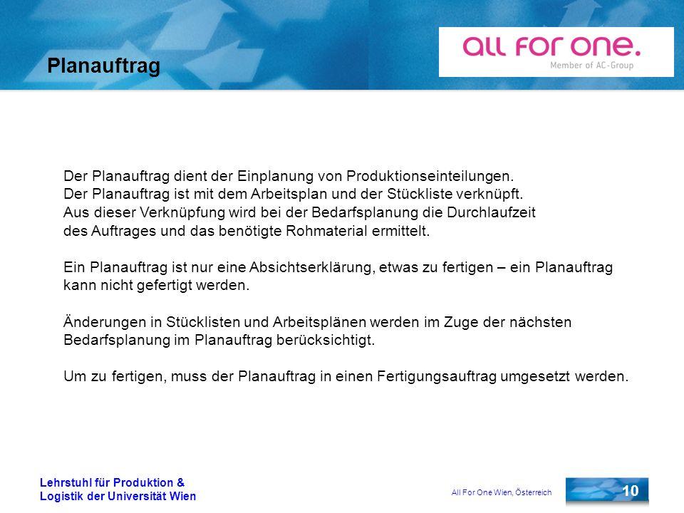 All For One Wien, Österreich 10 Lehrstuhl für Produktion & Logistik der Universität Wien Planauftrag Der Planauftrag dient der Einplanung von Produkti