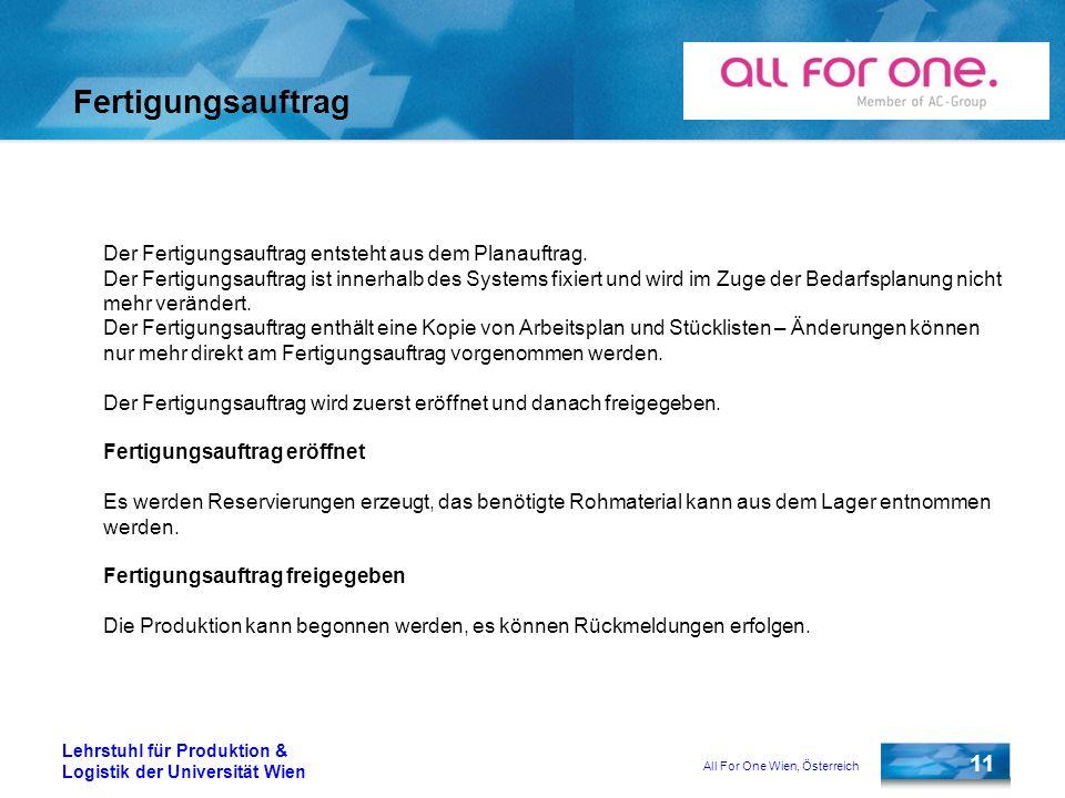 All For One Wien, Österreich 11 Lehrstuhl für Produktion & Logistik der Universität Wien Fertigungsauftrag Der Fertigungsauftrag entsteht aus dem Plan