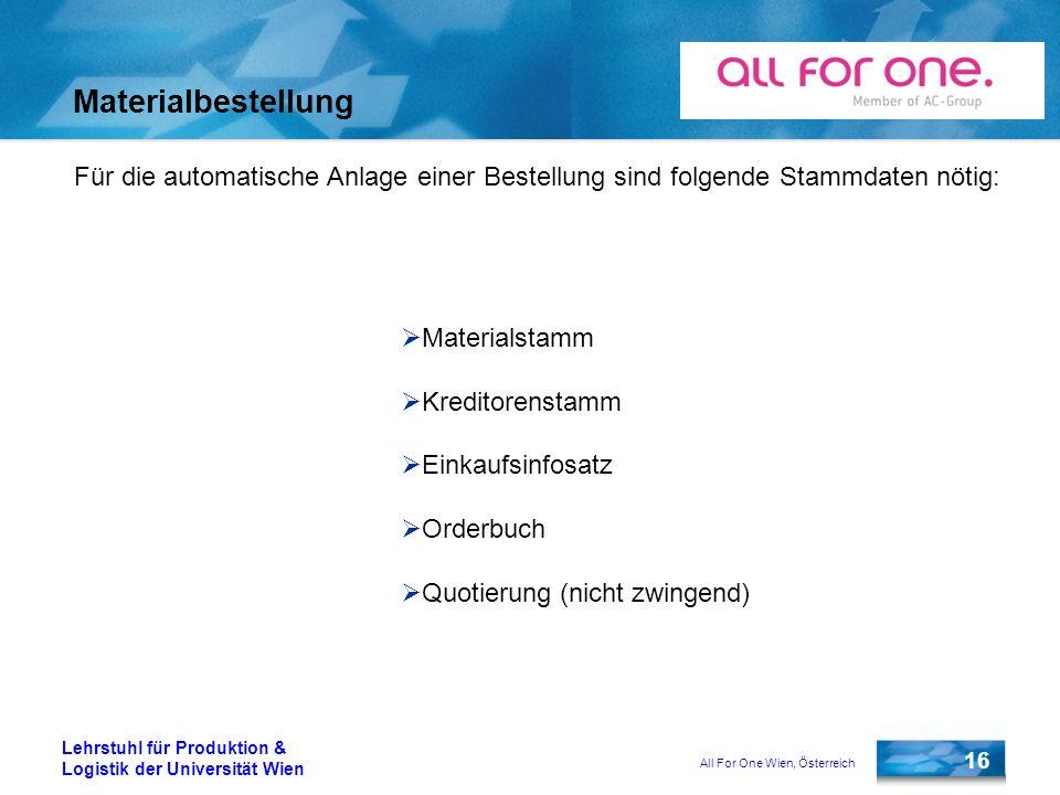 All For One Wien, Österreich 16 Lehrstuhl für Produktion & Logistik der Universität Wien Materialbestellung Für die automatische Anlage einer Bestellu