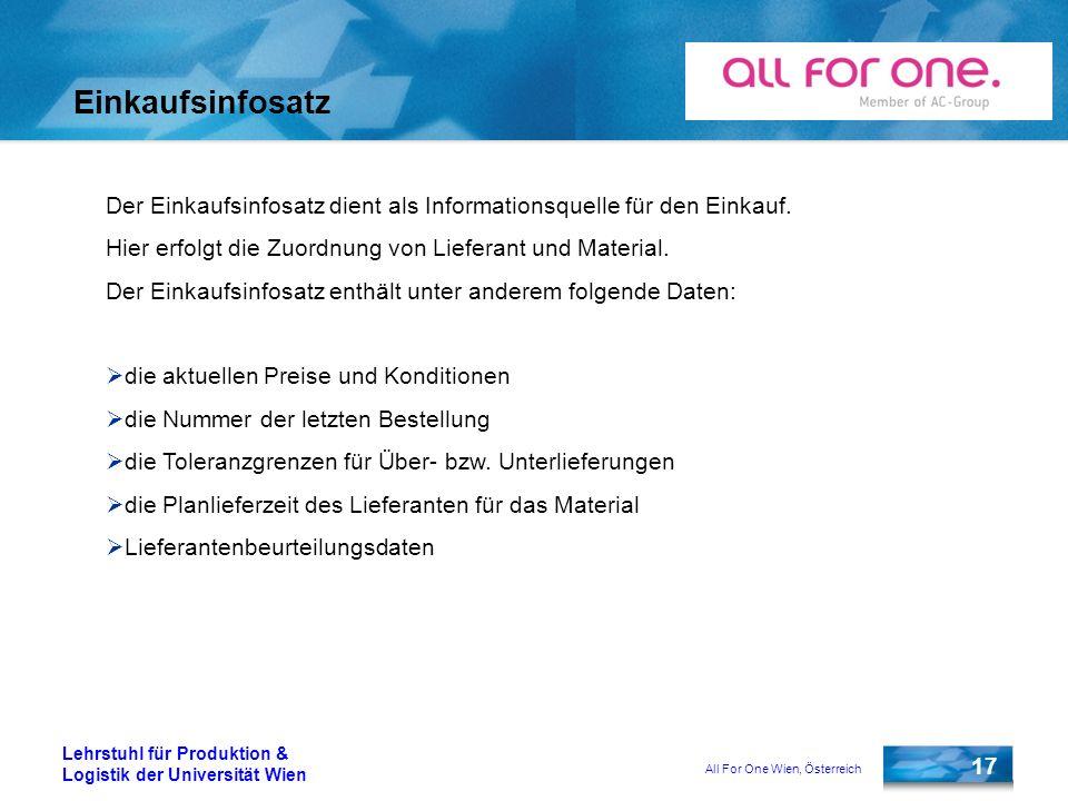 All For One Wien, Österreich 17 Lehrstuhl für Produktion & Logistik der Universität Wien Einkaufsinfosatz Der Einkaufsinfosatz dient als Informationsq
