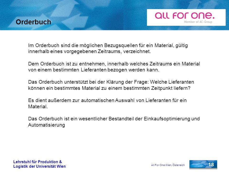 All For One Wien, Österreich 18 Lehrstuhl für Produktion & Logistik der Universität Wien Orderbuch Im Orderbuch sind die möglichen Bezugsquellen für e