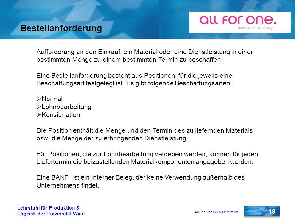 All For One Wien, Österreich 19 Lehrstuhl für Produktion & Logistik der Universität Wien Bestellanforderung Aufforderung an den Einkauf, ein Material