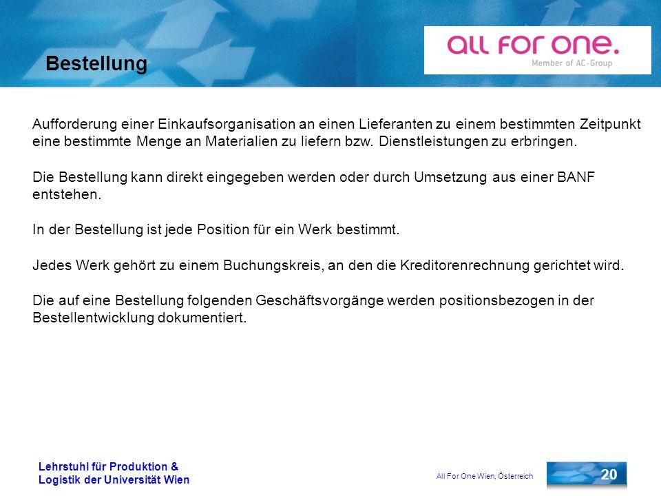 All For One Wien, Österreich 20 Lehrstuhl für Produktion & Logistik der Universität Wien Bestellung Aufforderung einer Einkaufsorganisation an einen L