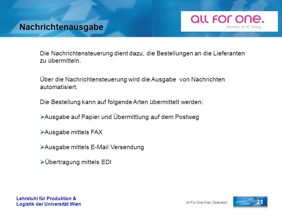 All For One Wien, Österreich 21 Lehrstuhl für Produktion & Logistik der Universität Wien Nachrichtenausgabe Die Nachrichtensteuerung dient dazu, die B