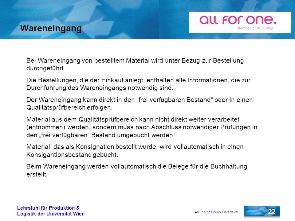 All For One Wien, Österreich 22 Lehrstuhl für Produktion & Logistik der Universität Wien Wareneingang Bei Wareneingang von bestelltem Material wird un