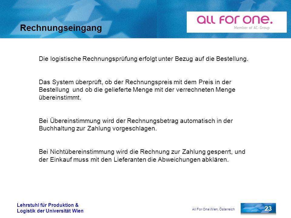 All For One Wien, Österreich 23 Lehrstuhl für Produktion & Logistik der Universität Wien Rechnungseingang Die logistische Rechnungsprüfung erfolgt unt