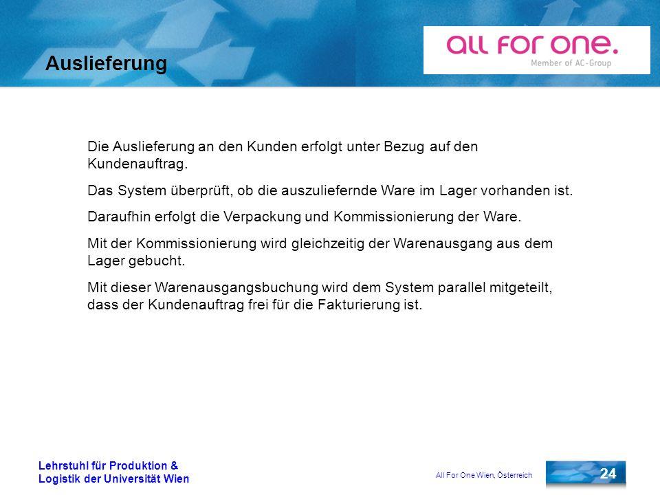 All For One Wien, Österreich 24 Lehrstuhl für Produktion & Logistik der Universität Wien Auslieferung Die Auslieferung an den Kunden erfolgt unter Bez