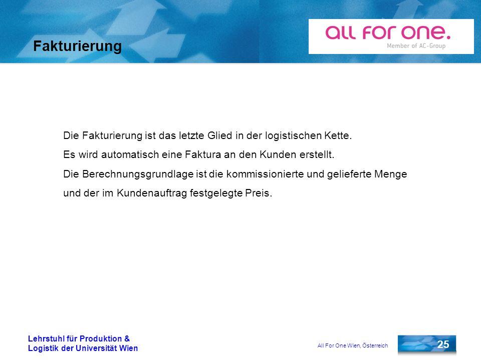 All For One Wien, Österreich 25 Lehrstuhl für Produktion & Logistik der Universität Wien Fakturierung Die Fakturierung ist das letzte Glied in der log