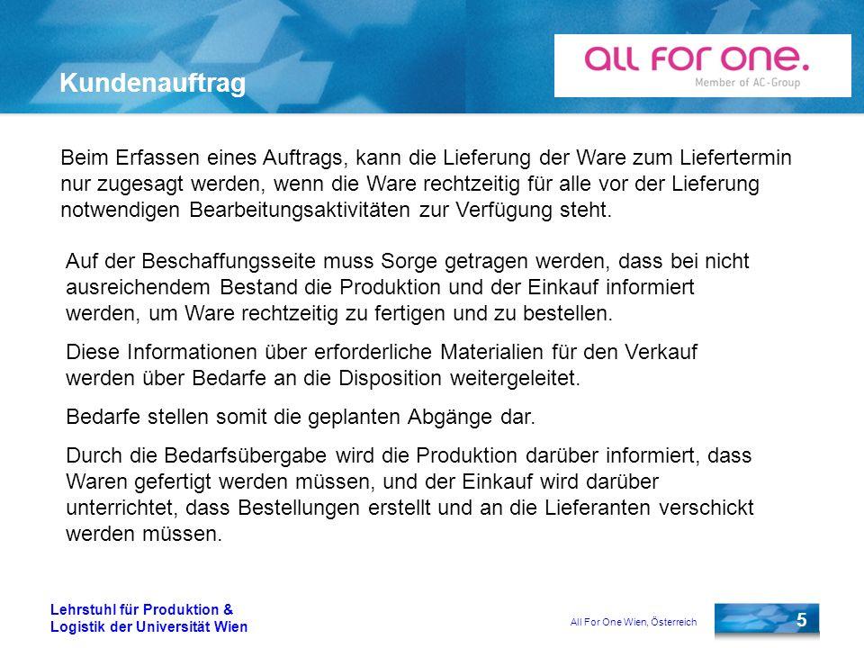 All For One Wien, Österreich 16 Lehrstuhl für Produktion & Logistik der Universität Wien Materialbestellung Für die automatische Anlage einer Bestellung sind folgende Stammdaten nötig: Materialstamm Kreditorenstamm Einkaufsinfosatz Orderbuch Quotierung (nicht zwingend)