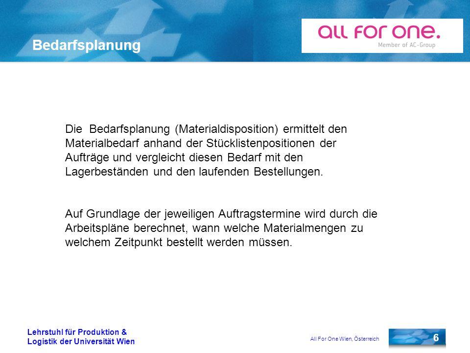 All For One Wien, Österreich 7 Lehrstuhl für Produktion & Logistik der Universität Wien Plan-/Fertigungsauftrag Für die Anlage eines Plan-/Fertigungsauftrages sind folgende Stammdaten nötig: Materialstamm Arbeitsplatz Arbeitsplan Stückliste
