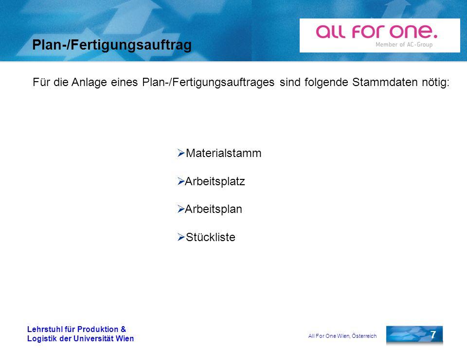 All For One Wien, Österreich 7 Lehrstuhl für Produktion & Logistik der Universität Wien Plan-/Fertigungsauftrag Für die Anlage eines Plan-/Fertigungsa