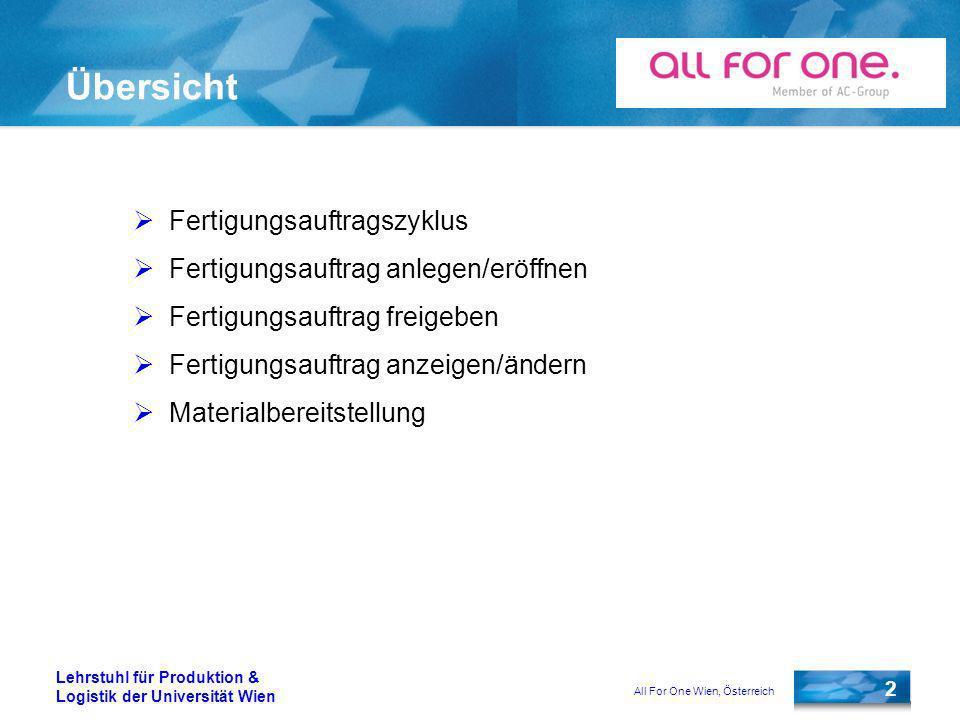 All For One Wien, Österreich 3 Lehrstuhl für Produktion & Logistik der Universität Wien Fertigungsauftragszyklus SAP AG