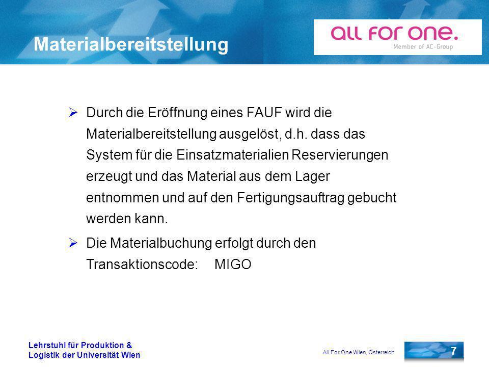 All For One Wien, Österreich 7 Lehrstuhl für Produktion & Logistik der Universität Wien Materialbereitstellung Durch die Eröffnung eines FAUF wird die Materialbereitstellung ausgelöst, d.h.