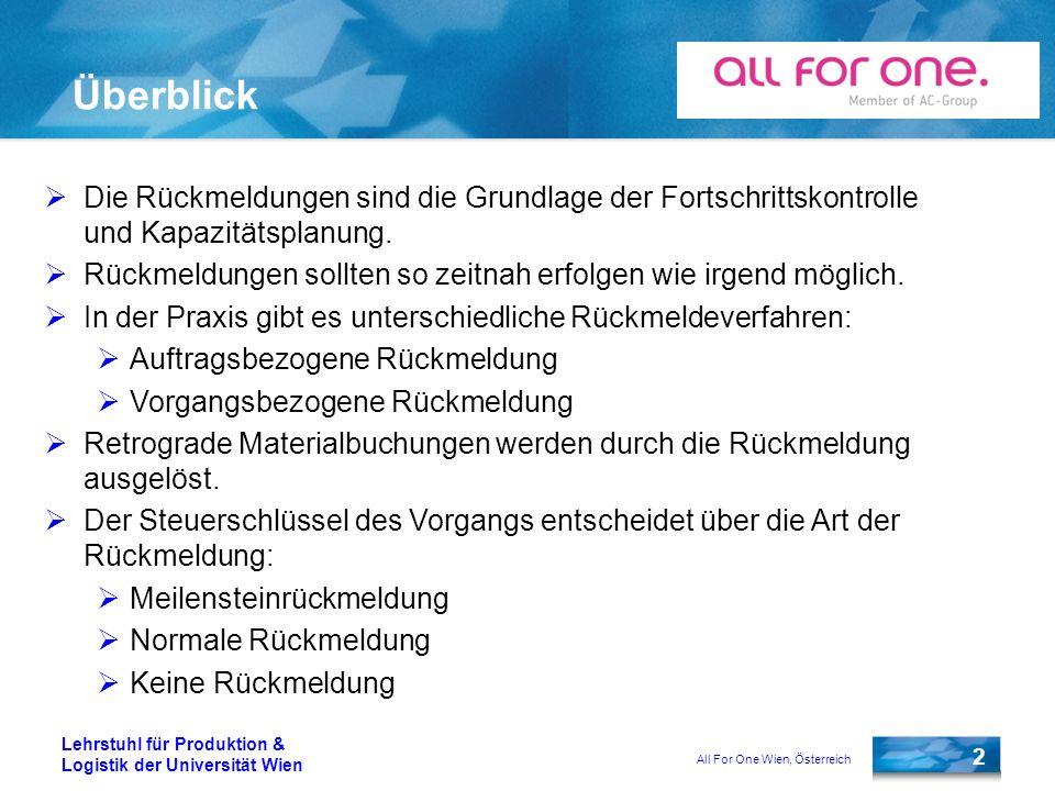 All For One Wien, Österreich 2 Lehrstuhl für Produktion & Logistik der Universität Wien Überblick Die Rückmeldungen sind die Grundlage der Fortschrittskontrolle und Kapazitätsplanung.