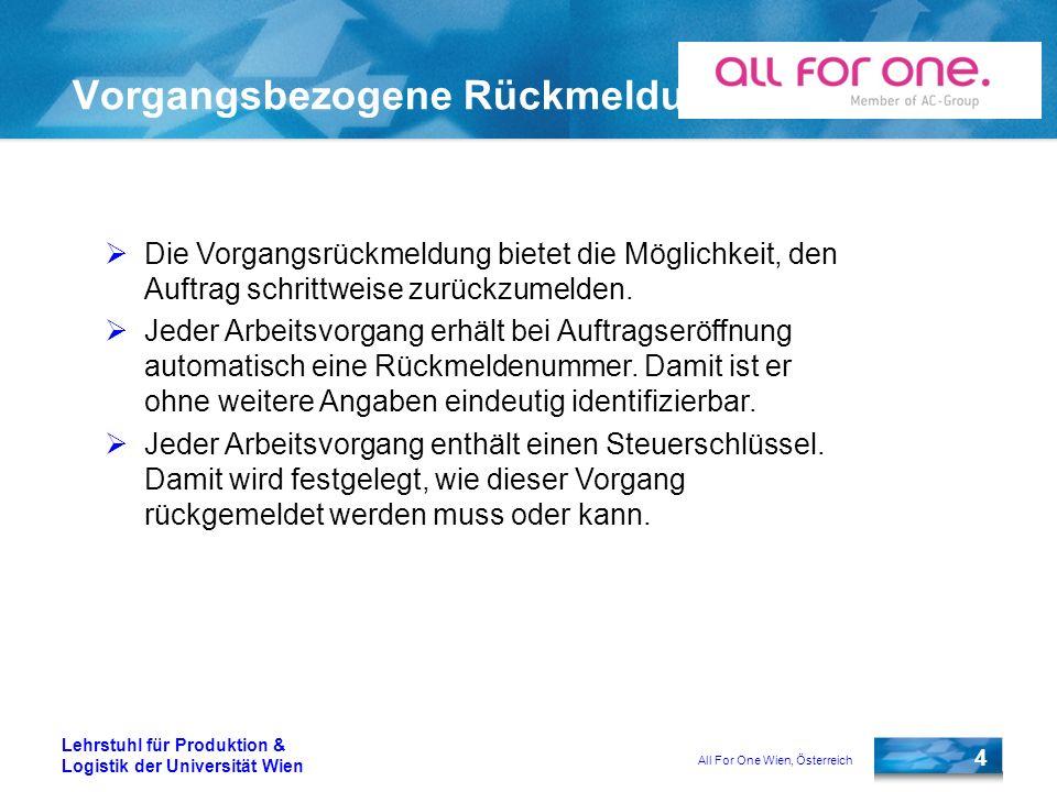 All For One Wien, Österreich 4 Lehrstuhl für Produktion & Logistik der Universität Wien Vorgangsbezogene Rückmeldung Die Vorgangsrückmeldung bietet die Möglichkeit, den Auftrag schrittweise zurückzumelden.