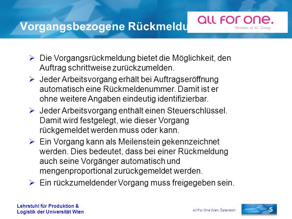 All For One Wien, Österreich 5 Lehrstuhl für Produktion & Logistik der Universität Wien Vorgangsbezogene Rückmeldung Die Vorgangsrückmeldung bietet die Möglichkeit, den Auftrag schrittweise zurückzumelden.