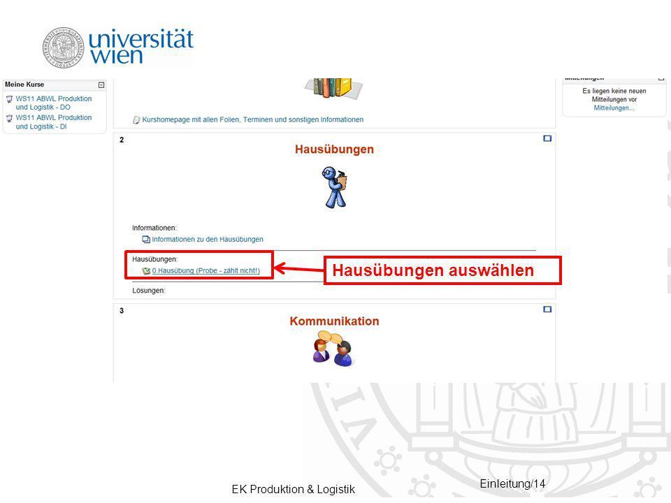 EK Produktion & Logistik Einleitung/14 Hausübungen auswählen