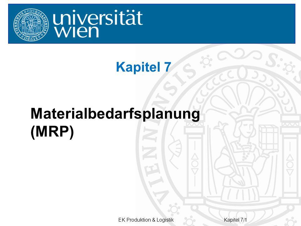 EK Produktion & LogistikKapitel 7/1 Kapitel 7 Materialbedarfsplanung (MRP)