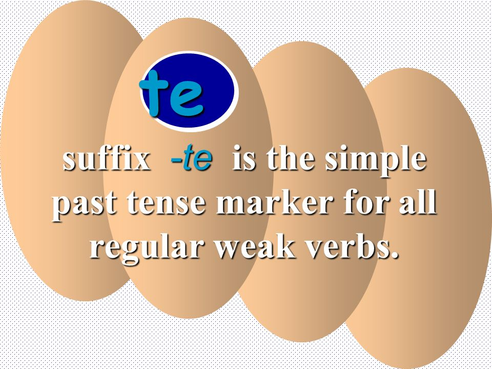 te suffix -te is the simple past tense marker for all regular weak verbs.