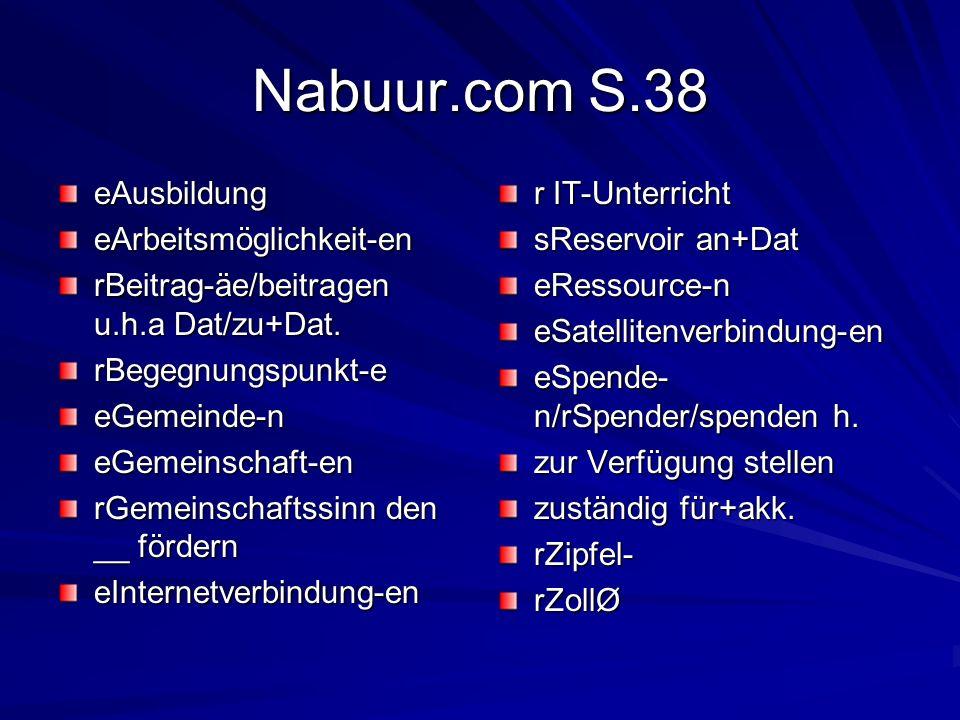 Nabuur.com S.38 eAusbildungeArbeitsmöglichkeit-en rBeitrag-äe/beitragen u.h.a Dat/zu+Dat. rBegegnungspunkt-eeGemeinde-neGemeinschaft-en rGemeinschafts