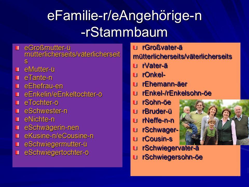 eFamilie-r/eAngehörige-n -rStammbaum eGroßmutter-ü mütterlicherseits/väterlicherseit s eMutter-üeTante-neEhefrau-eneEnkelin/eEnkeltochter-öeTochter-öe