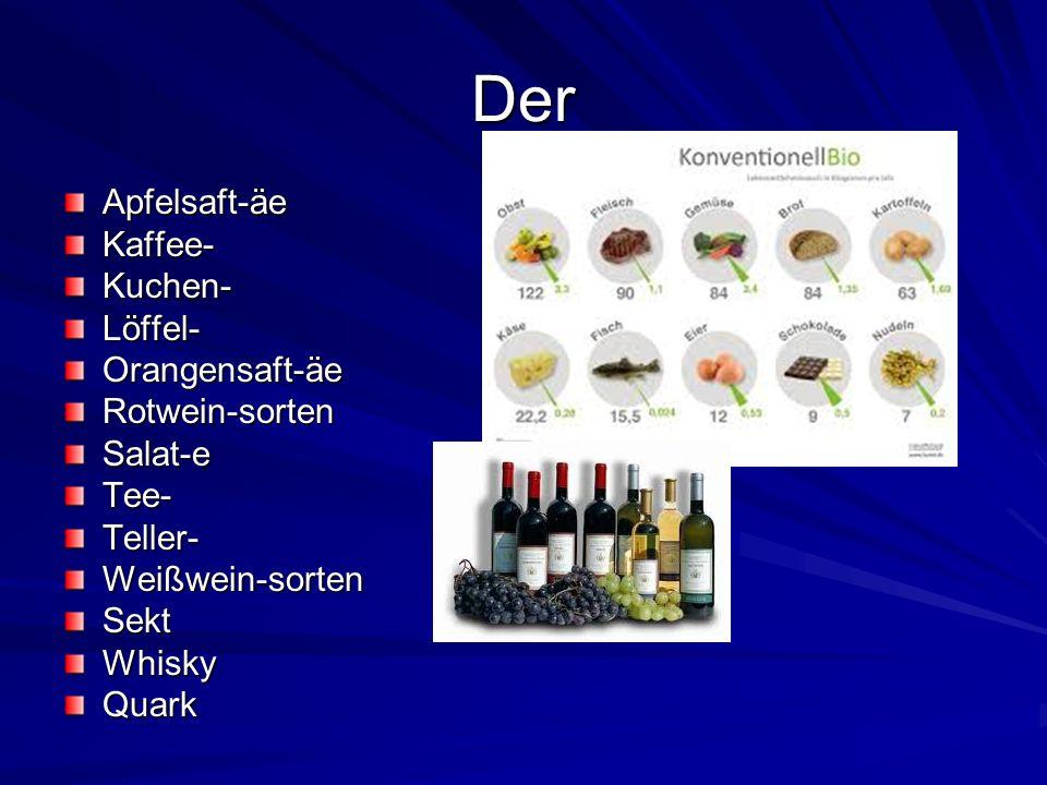 Der Apfelsaft-äeKaffee-Kuchen-Löffel-Orangensaft-äeRotwein-sortenSalat-eTee-Teller-Weißwein-sortenSektWhiskyQuark