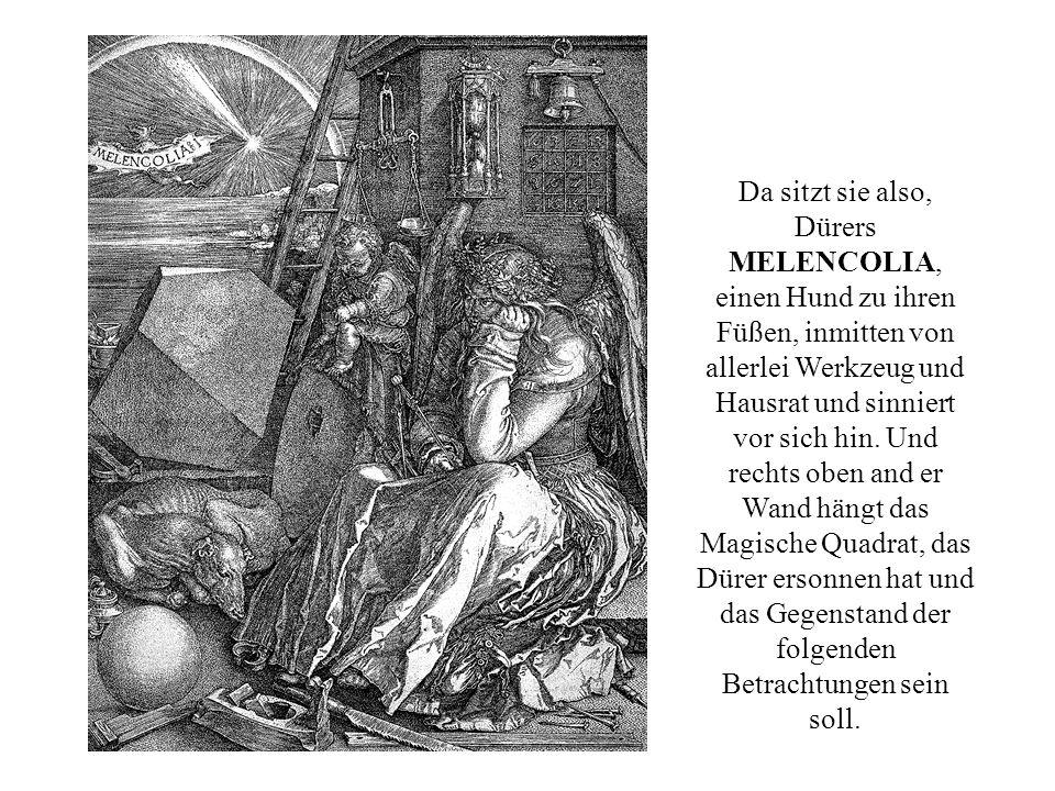 Da sitzt sie also, Dürers MELENCOLIA, einen Hund zu ihren Füßen, inmitten von allerlei Werkzeug und Hausrat und sinniert vor sich hin. Und rechts oben
