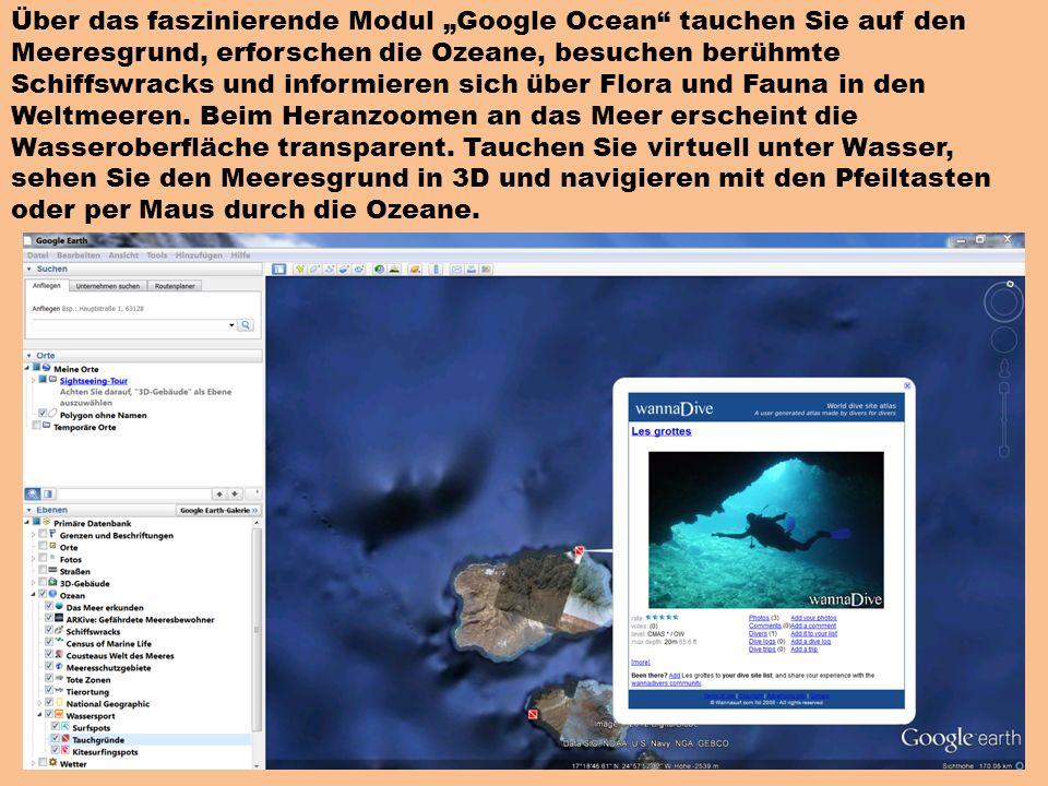 Über das faszinierende Modul Google Ocean tauchen Sie auf den Meeresgrund, erforschen die Ozeane, besuchen berühmte Schiffswracks und informieren sich über Flora und Fauna in den Weltmeeren.