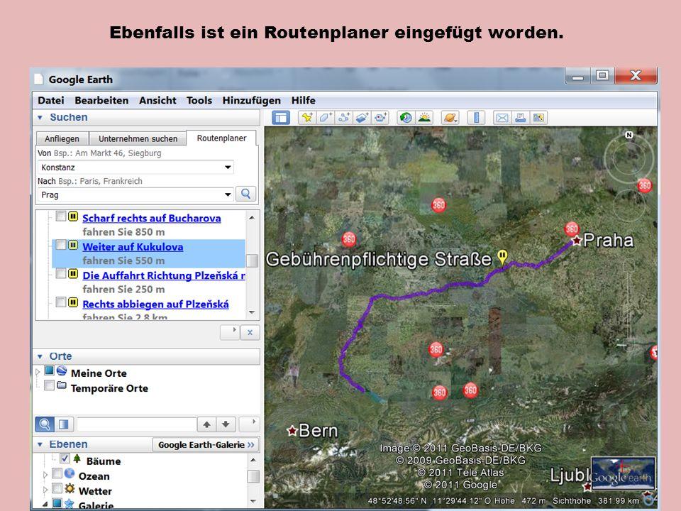 Ebenfalls ist ein Routenplaner eingefügt worden.