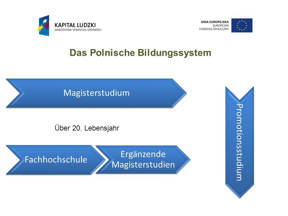 Das Polnische Bildungssystem Fachhochschule Magisterstudium Ergänzende Magisterstudien Promotionsstudium Über 20.
