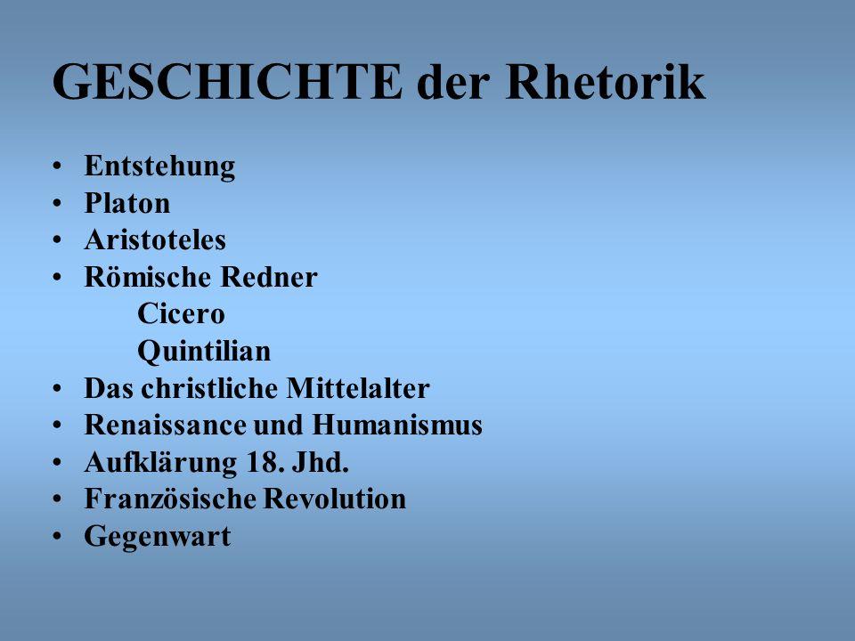 GESCHICHTE der Rhetorik Entstehung Platon Aristoteles Römische Redner Cicero Quintilian Das christliche Mittelalter Renaissance und Humanismus Aufklär