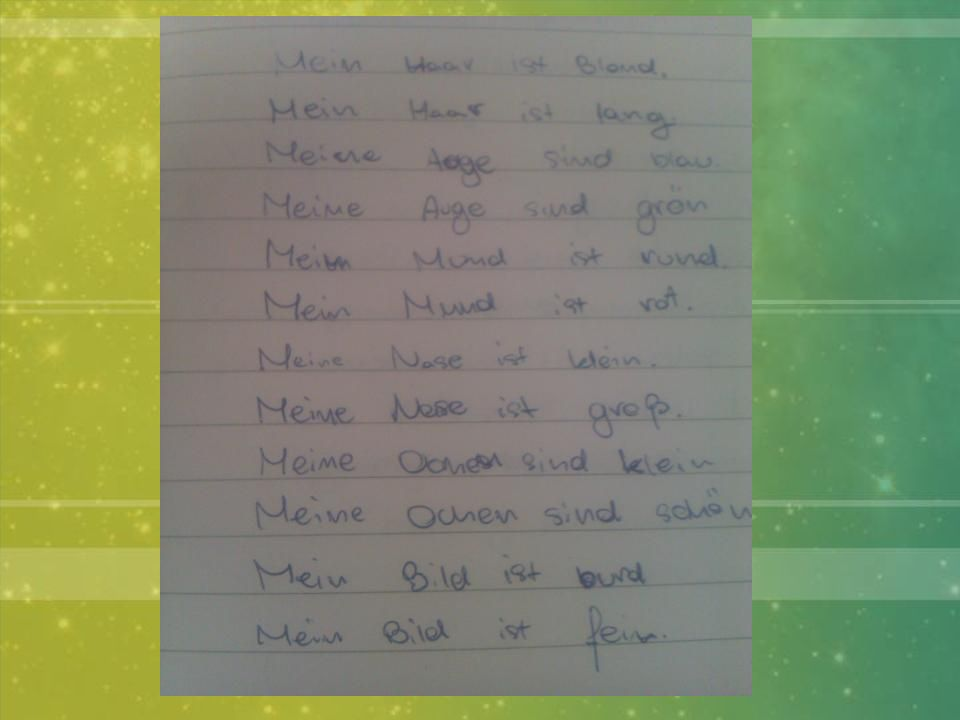 Notizen Wir schreiben Notizen, die uns Material behalten helfen: