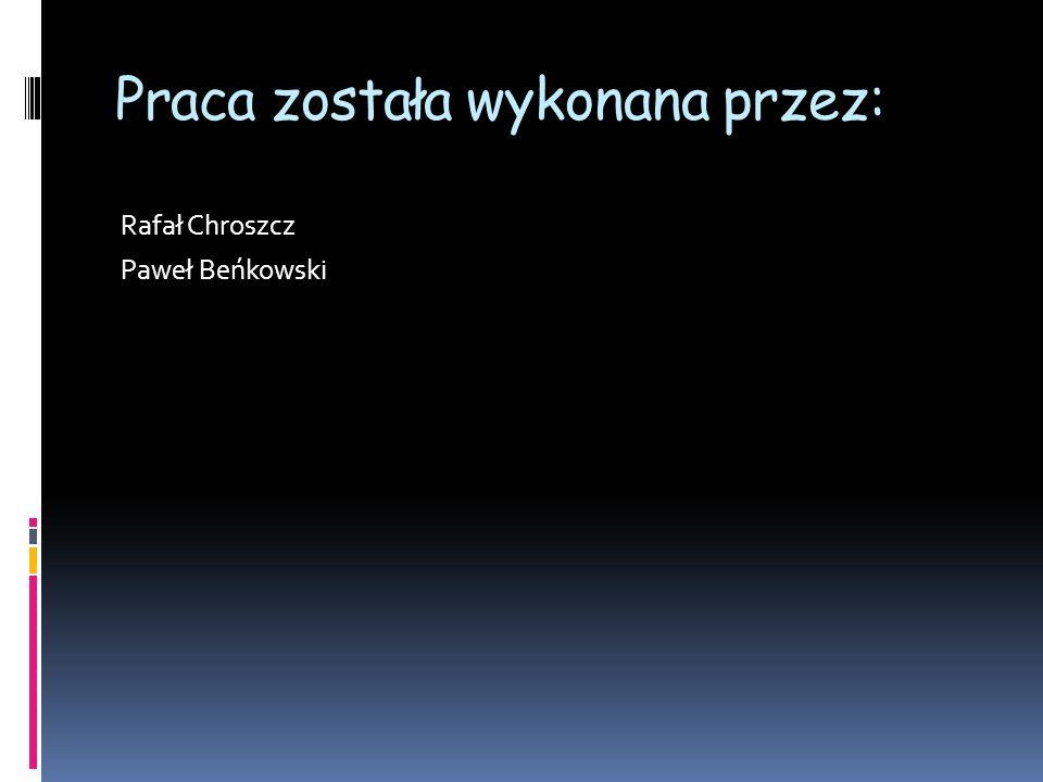Praca została wykonana przez: Rafał Chroszcz Paweł Beńkowski