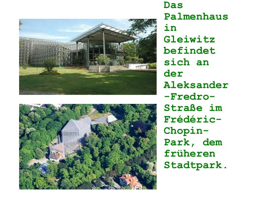 Das Palmenhaus in Gleiwitz befindet sich an der Aleksander -Fredro- Straße im Frédéric- Chopin- Park, dem früheren Stadtpark.