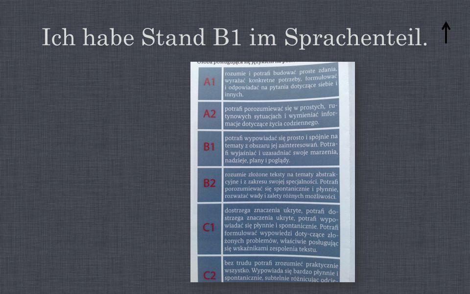 Ich habe Stand B1 im Sprachenteil.
