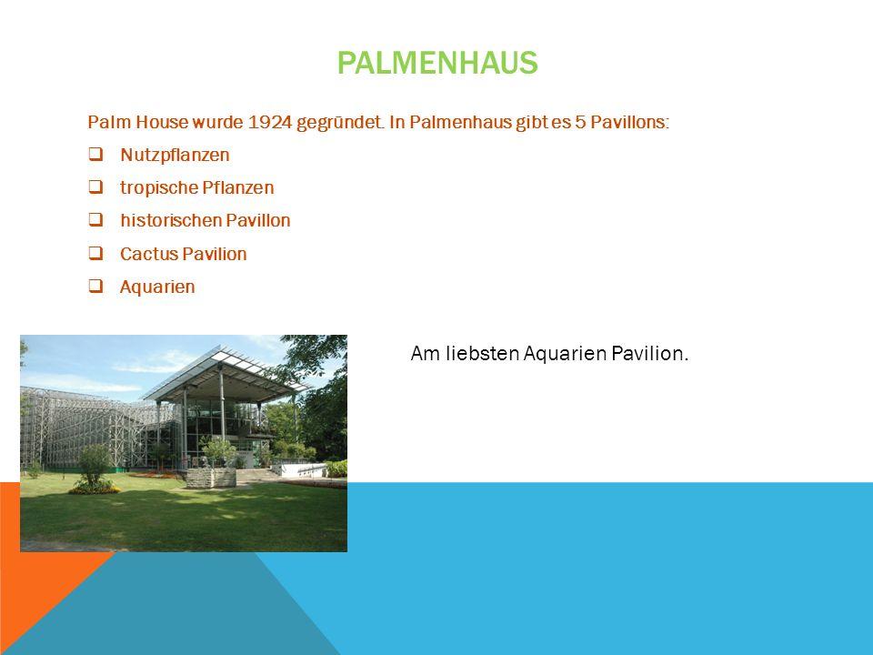 PALMENHAUS Palm House wurde 1924 gegründet. In Palmenhaus gibt es 5 Pavillons: Nutzpflanzen tropische Pflanzen historischen Pavillon Cactus Pavilion A