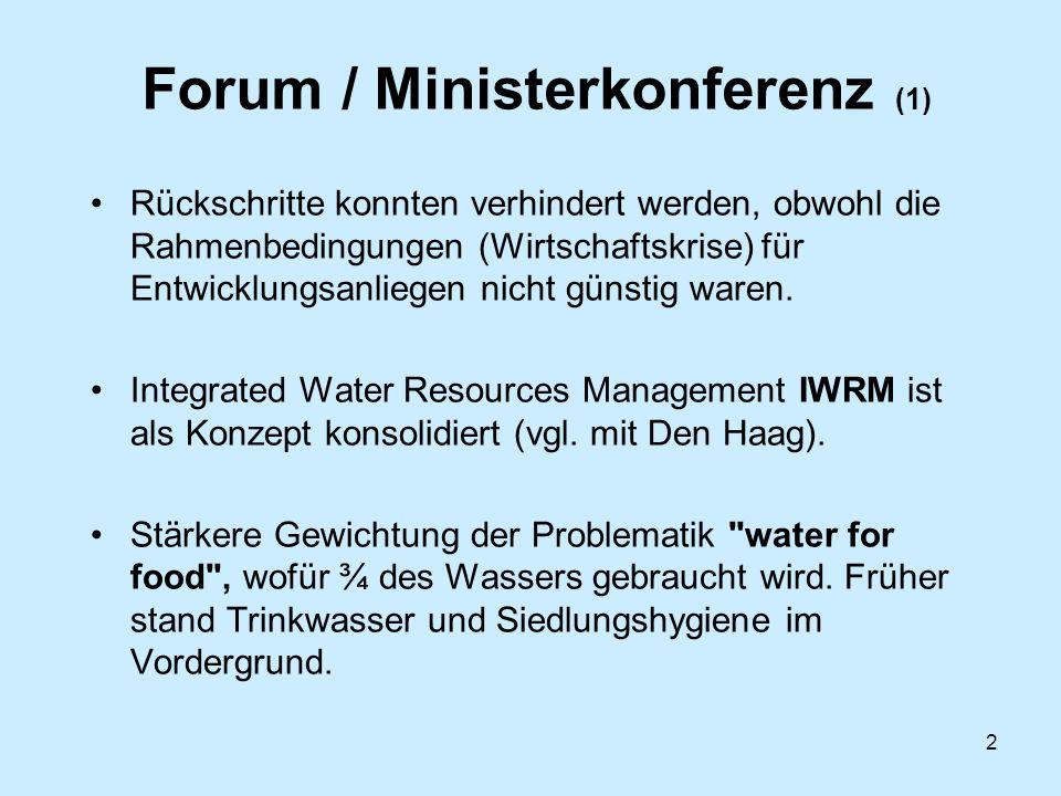 3 Forum / Ministerkonferenz (2) Privatisierung der Wasserverteilung, public-private- partner-ships, Wasserpreis waren zentrale Diskussionthemen (vgl.