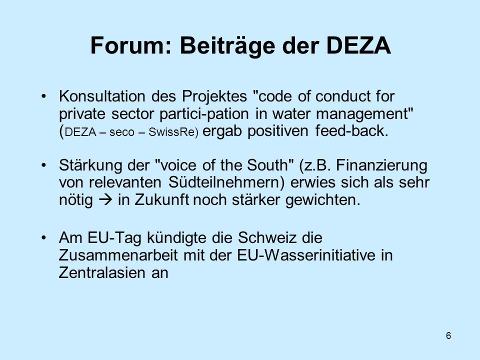 6 Forum: Beiträge der DEZA Konsultation des Projektes